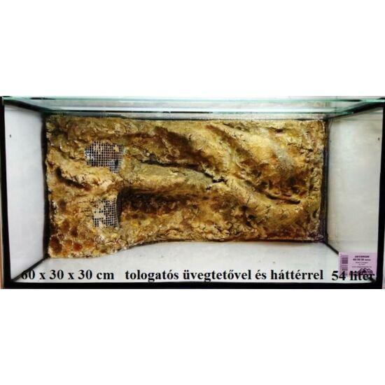 Üveg tolóajtós hátterezett akvárium   54 liter +szűrő + fűtő