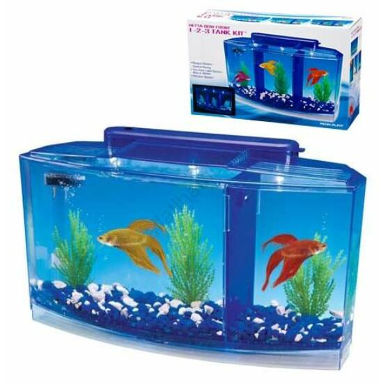 Penn Plax Aquarium Deluxe Betta LED 2,7 liter 3 fakk betta akvárium szett